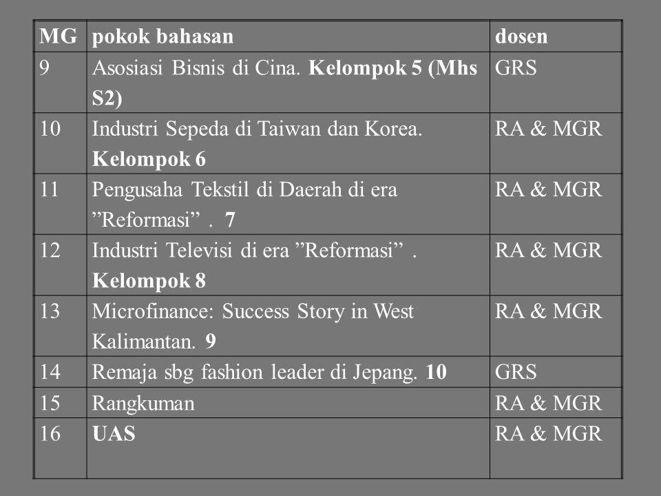 MG pokok bahasan. dosen. 9. Asosiasi Bisnis di Cina. Kelompok 5 (Mhs S2) GRS. 10. Industri Sepeda di Taiwan dan Korea. Kelompok 6.