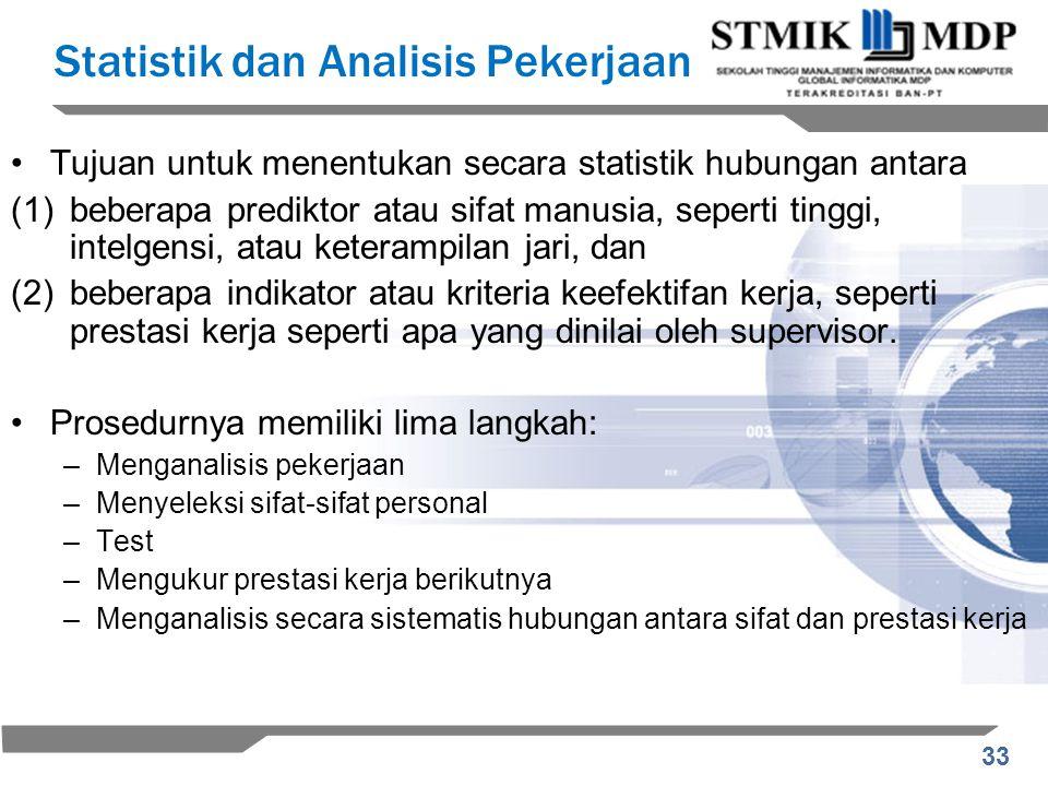 Statistik dan Analisis Pekerjaan