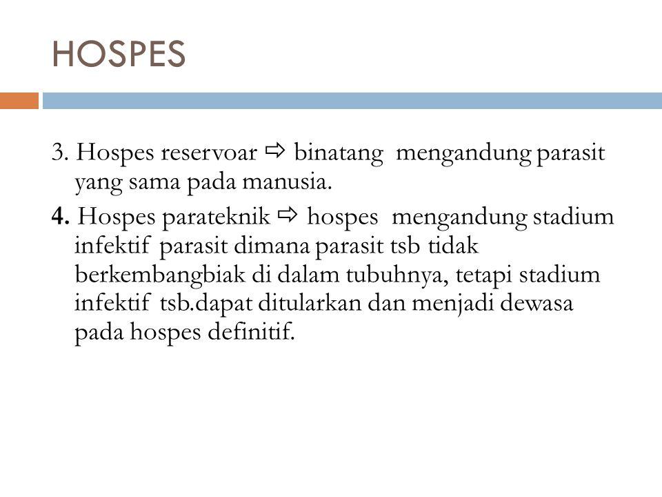 HOSPES 3. Hospes reservoar  binatang mengandung parasit yang sama pada manusia.