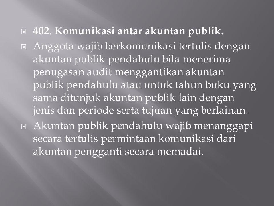 402. Komunikasi antar akuntan publik.