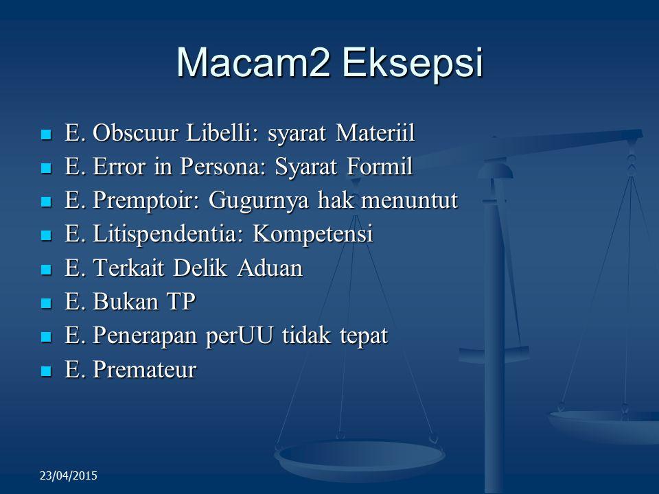 Macam2 Eksepsi E. Obscuur Libelli: syarat Materiil