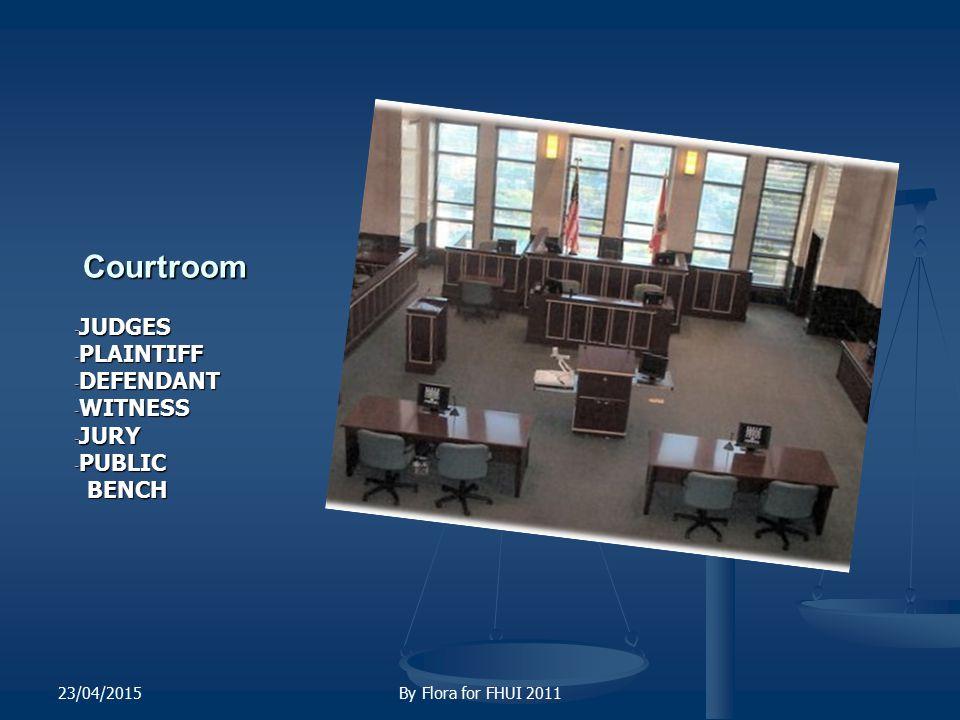 Courtroom JUDGES PLAINTIFF DEFENDANT WITNESS JURY PUBLIC BENCH