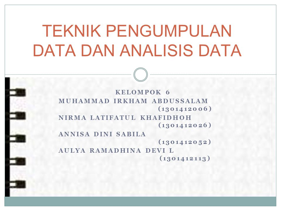 TEKNIK PENGUMPULAN DATA DAN ANALISIS DATA