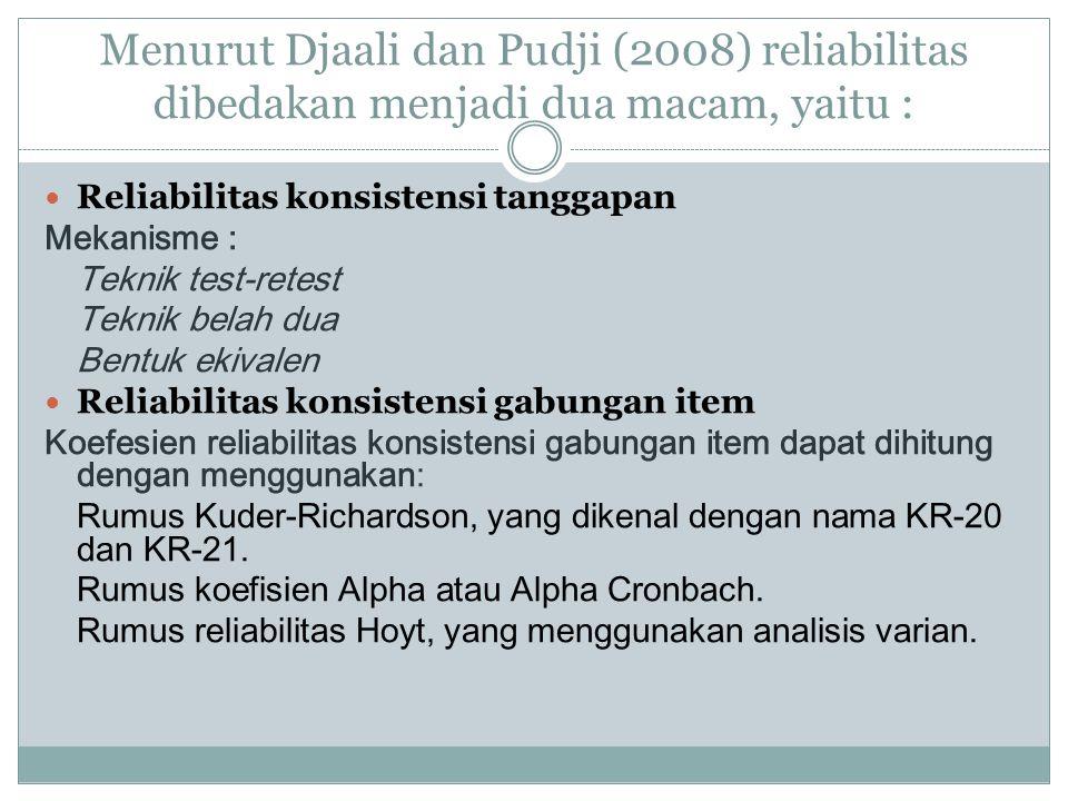 Menurut Djaali dan Pudji (2008) reliabilitas dibedakan menjadi dua macam, yaitu :