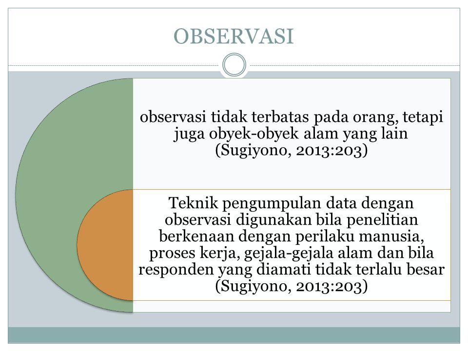 OBSERVASI observasi tidak terbatas pada orang, tetapi juga obyek-obyek alam yang lain (Sugiyono, 2013:203)