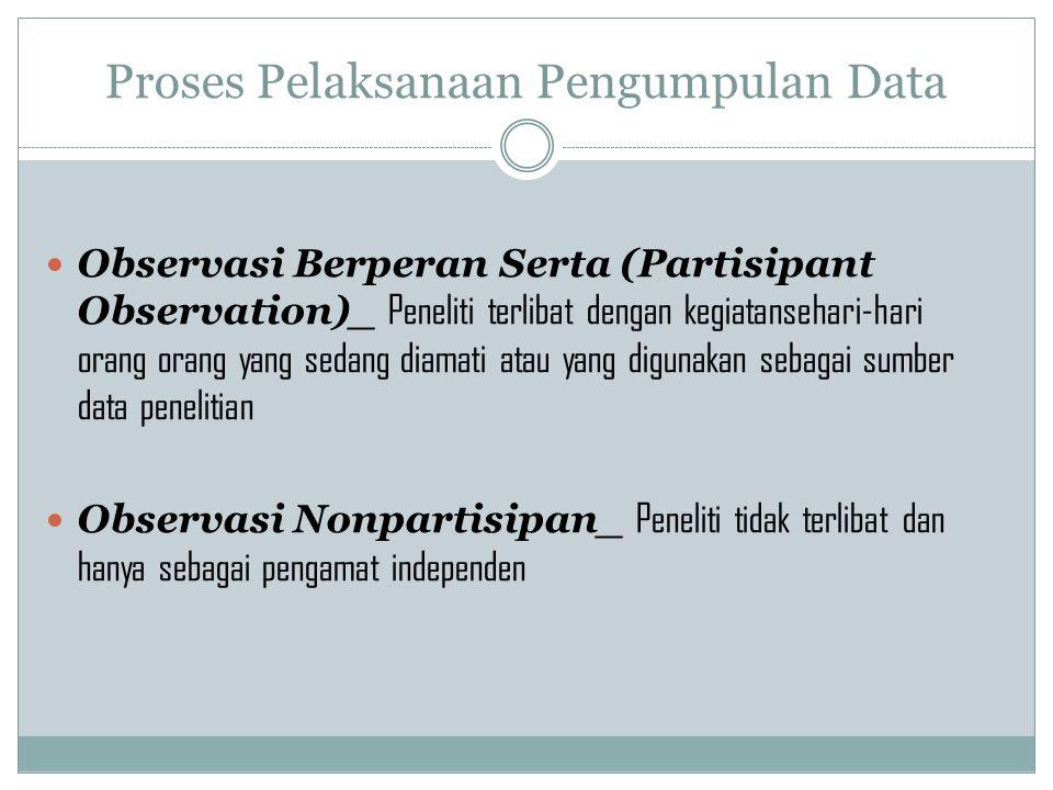 Proses Pelaksanaan Pengumpulan Data