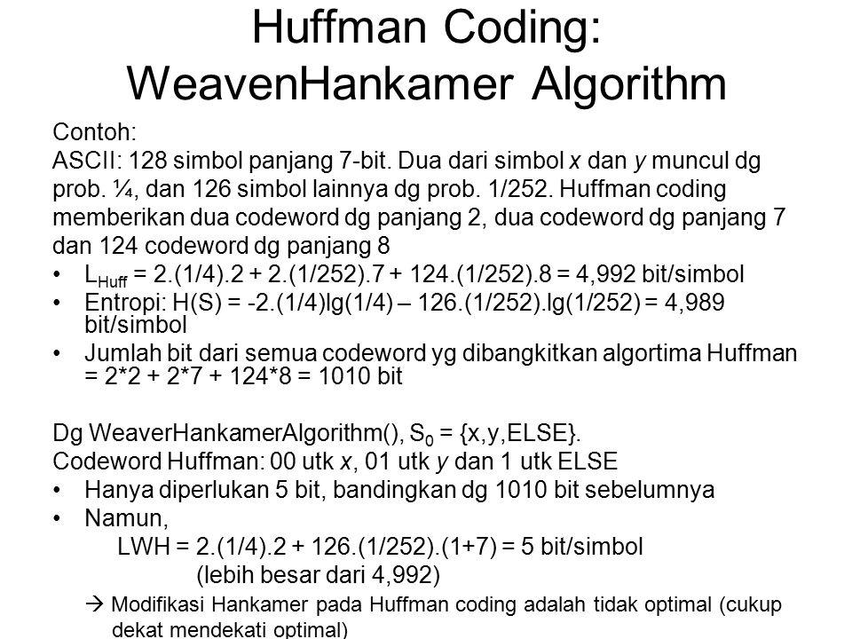 Huffman Coding: WeavenHankamer Algorithm