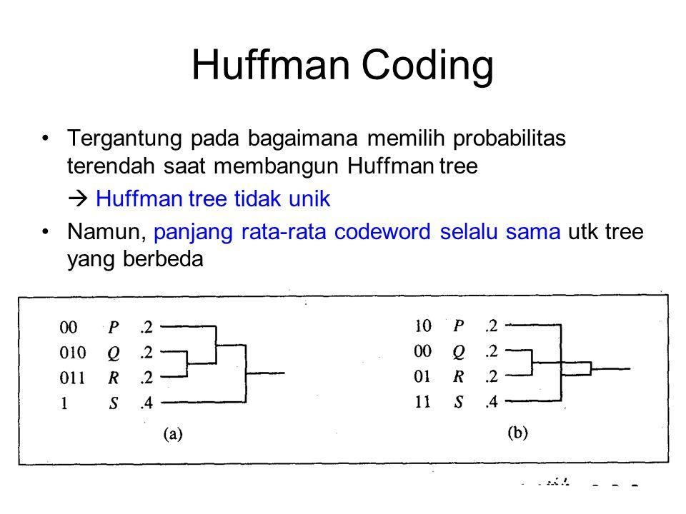 Huffman Coding Tergantung pada bagaimana memilih probabilitas terendah saat membangun Huffman tree.
