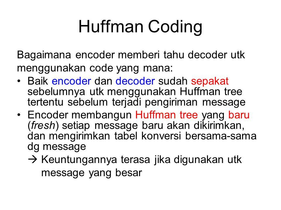 Huffman Coding Bagaimana encoder memberi tahu decoder utk
