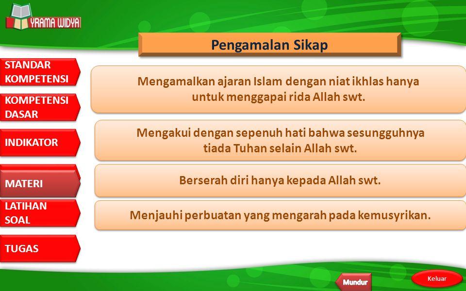 Pengamalan Sikap Mengamalkan ajaran Islam dengan niat ikhlas hanya