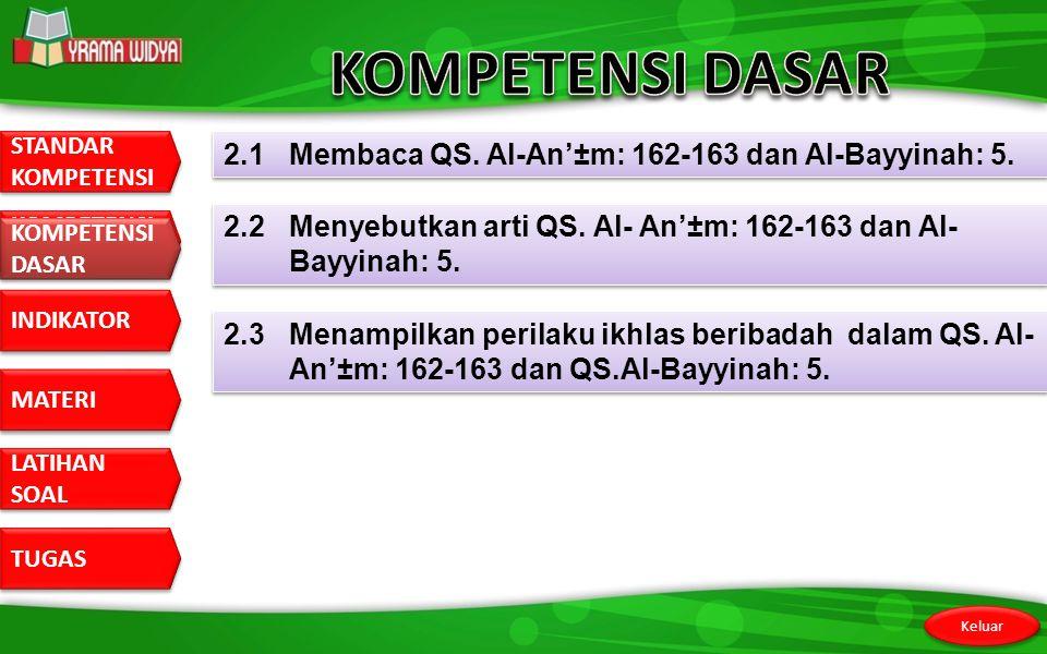 KOMPETENSI DASAR 2.1 Membaca QS. Al-An'±m: 162-163 dan Al-Bayyinah: 5.