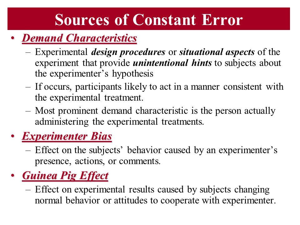 Sources of Constant Error