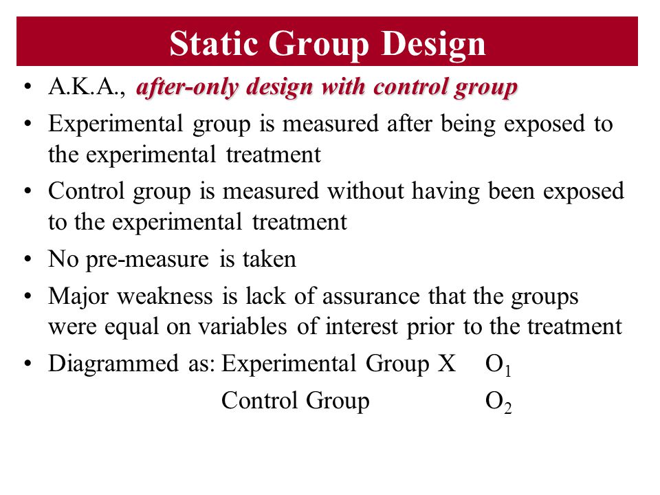 Static Group Design A.K.A., after-only design with control group