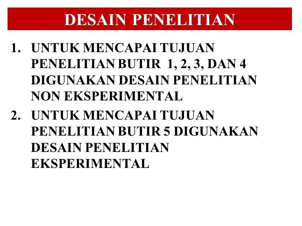 DESAIN PENELITIAN UNTUK MENCAPAI TUJUAN PENELITIAN BUTIR 1, 2, 3, DAN 4 DIGUNAKAN DESAIN PENELITIAN NON EKSPERIMENTAL.
