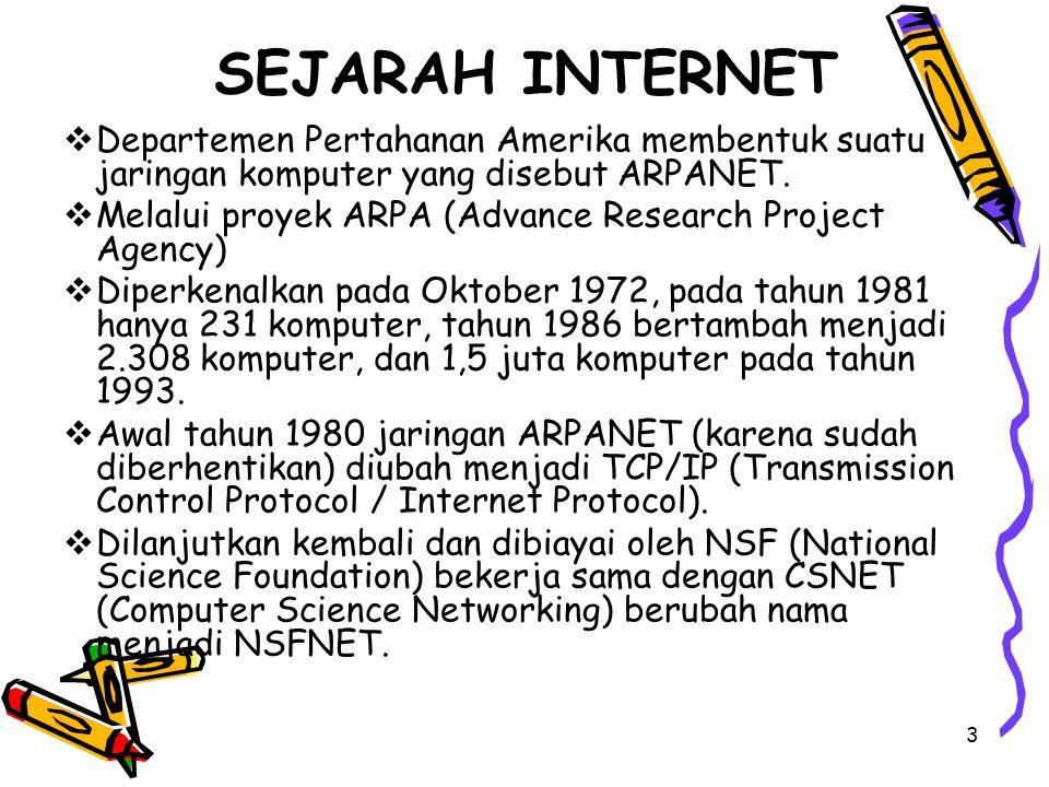 SEJARAH INTERNET Departemen Pertahanan Amerika membentuk suatu jaringan komputer yang disebut ARPANET.