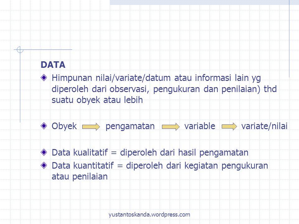 Obyek pengamatan variable variate/nilai
