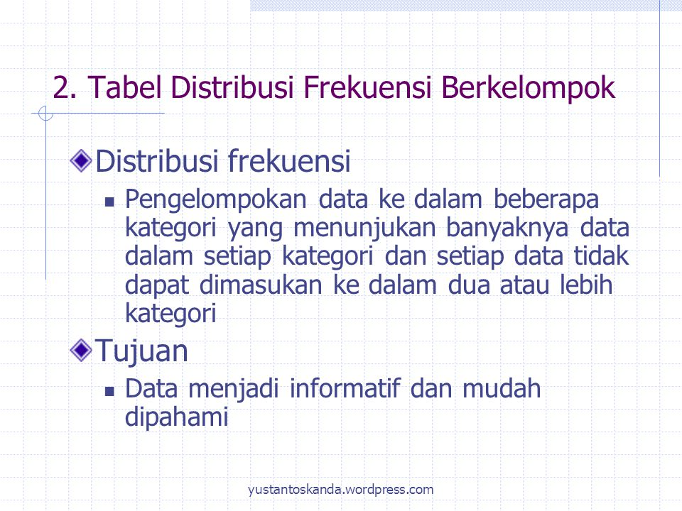 2. Tabel Distribusi Frekuensi Berkelompok
