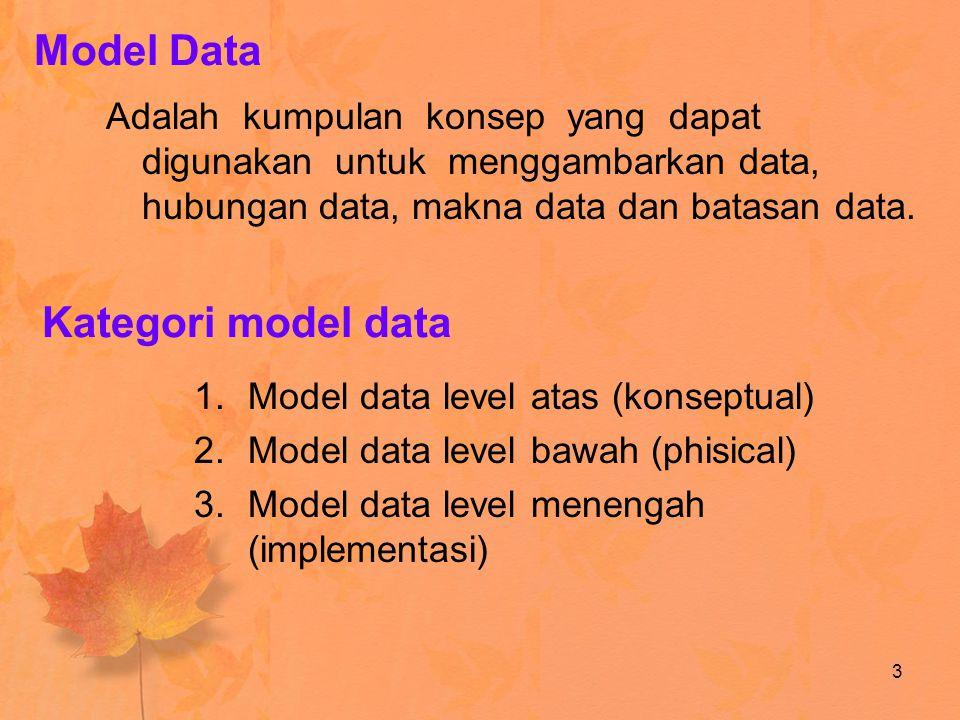 Model Data Kategori model data