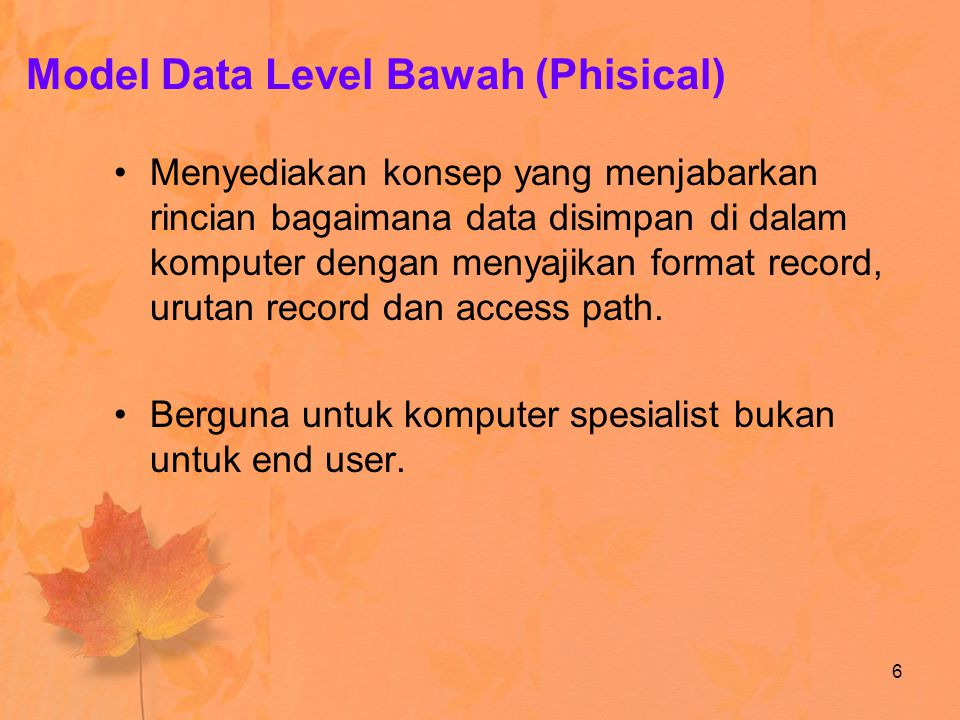 Model Data Level Bawah (Phisical)