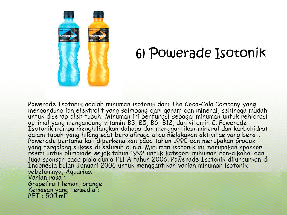 6) Powerade Isotonik