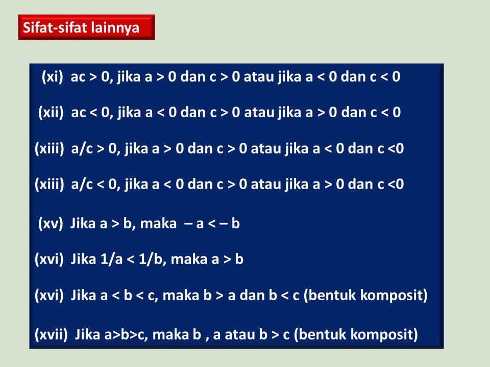 Sifat-sifat lainnya (xi) ac > 0, jika a > 0 dan c > 0 atau jika a < 0 dan c < 0. (xii) ac < 0, jika a < 0 dan c > 0 atau jika a > 0 dan c < 0.
