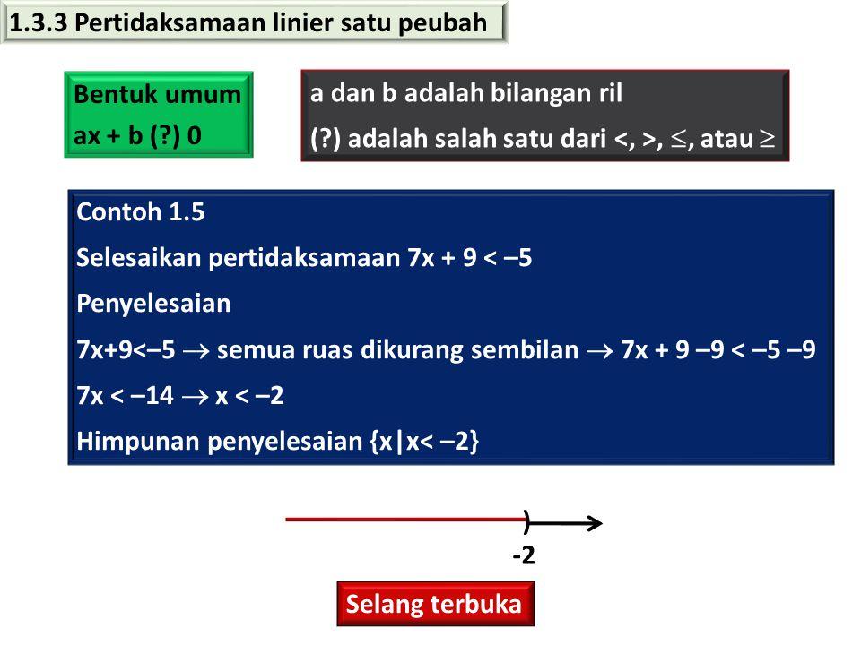 1.3.3 Pertidaksamaan linier satu peubah