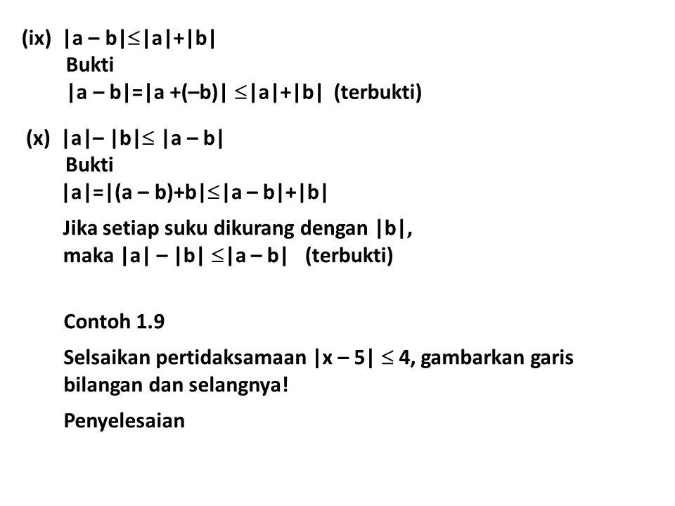 |a – b||a|+|b| Bukti. |a – b|=|a +(–b)| |a|+|b| (terbukti) |a|– |b| |a – b| Bukti. |a|=|(a – b)+b||a – b|+|b|