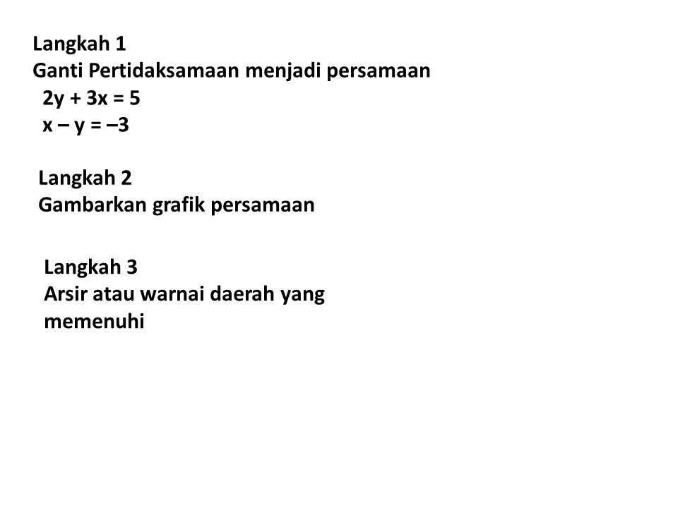 Langkah 1 Ganti Pertidaksamaan menjadi persamaan. 2y + 3x = 5. x – y = –3. Langkah 2. Gambarkan grafik persamaan.