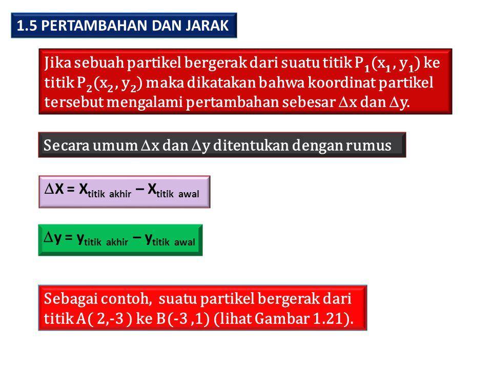 1.5 PERTAMBAHAN DAN JARAK Jika sebuah partikel bergerak dari suatu titik P1(x1 , y1) ke. titik P2(x2 , y2) maka dikatakan bahwa koordinat partikel.