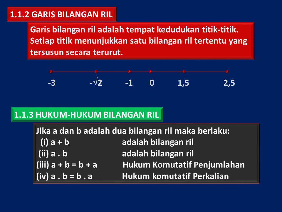 1.1.2 GARIS BILANGAN RIL Garis bilangan ril adalah tempat kedudukan titik-titik. Setiap titik menunjukkan satu bilangan ril tertentu yang.