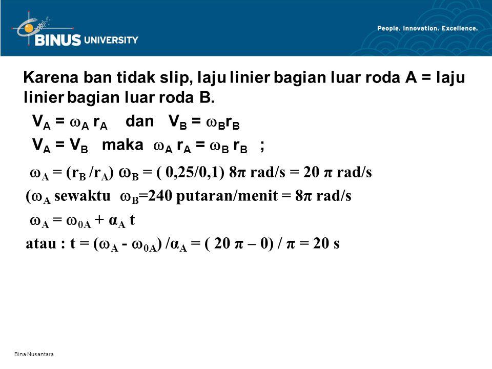 A = (rB /rA) B = ( 0,25/0,1) 8π rad/s = 20 π rad/s