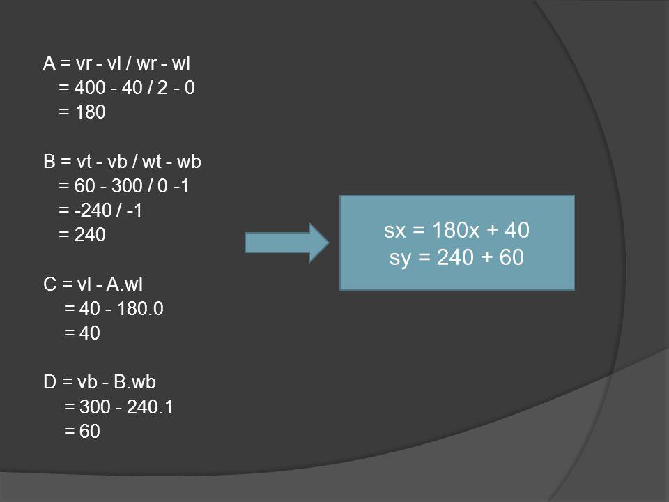 A = vr - vl / wr - wl = 400 - 40 / 2 - 0 = 180 B = vt - vb / wt - wb = 60 - 300 / 0 -1 = -240 / -1 = 240 C = vl - A.wl = 40 - 180.0 = 40 D = vb - B.wb = 300 - 240.1 = 60