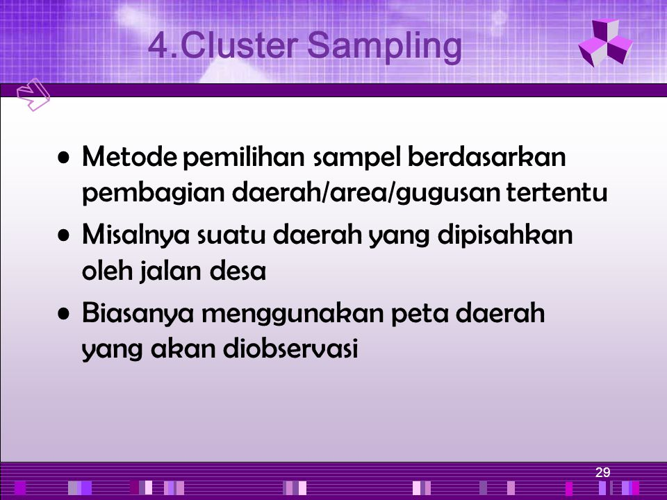 4.Cluster Sampling Metode pemilihan sampel berdasarkan pembagian daerah/area/gugusan tertentu.