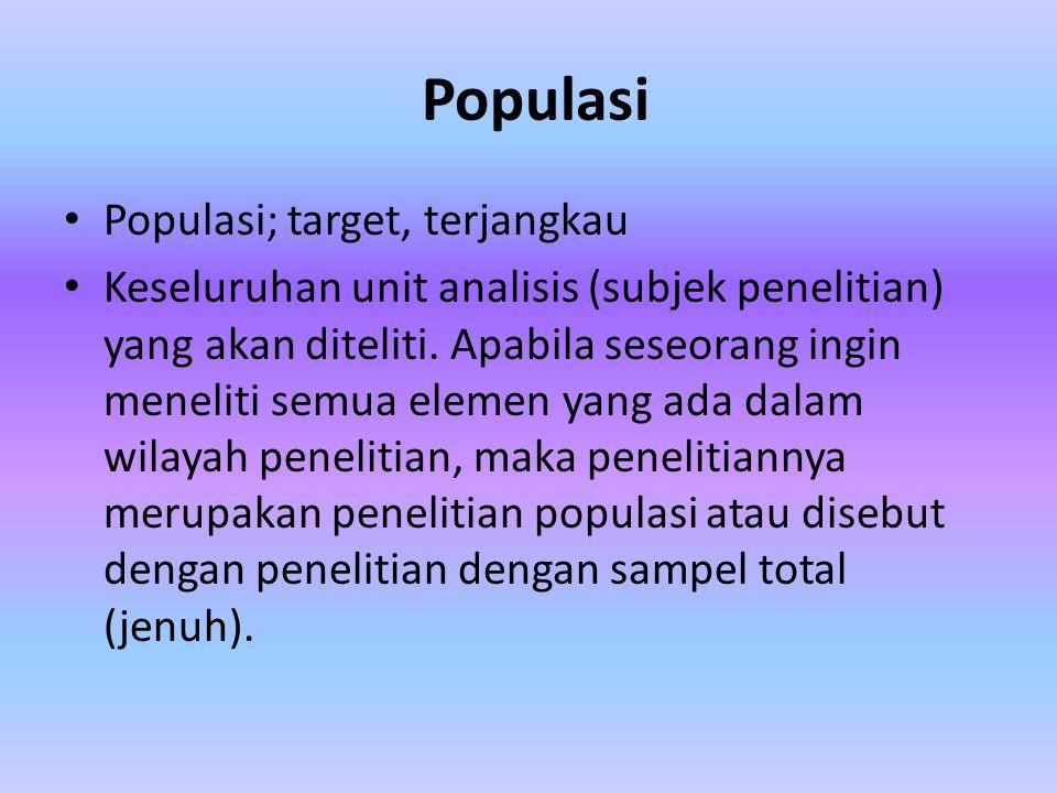 Populasi Populasi; target, terjangkau