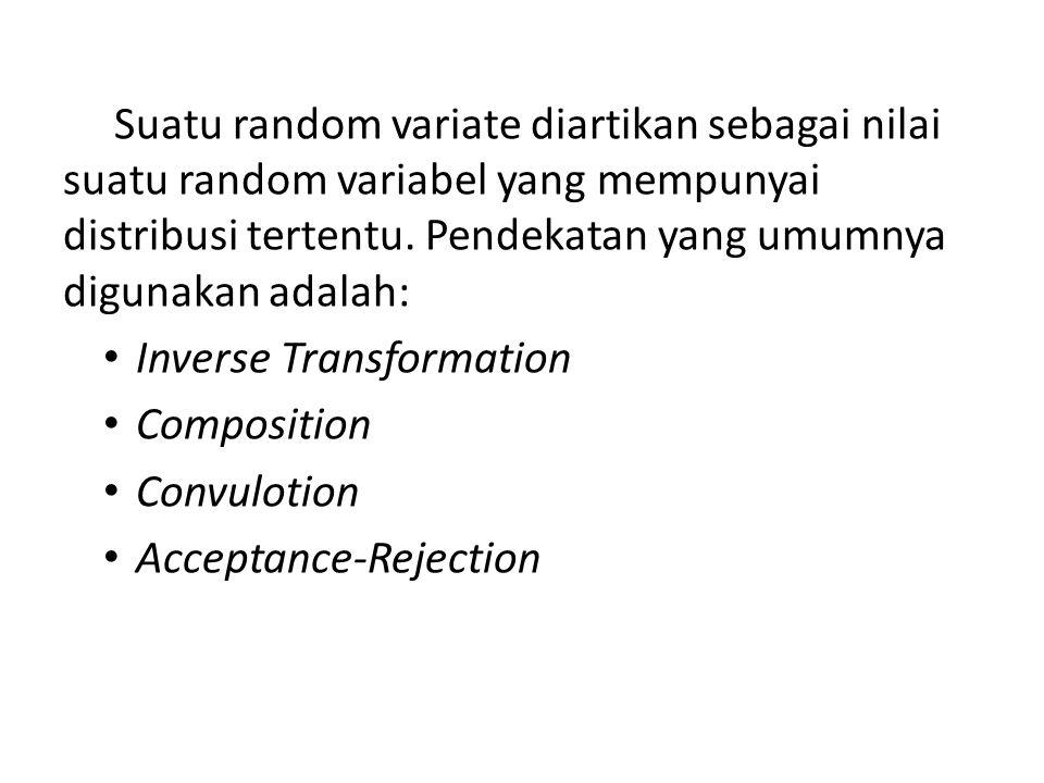 Suatu random variate diartikan sebagai nilai suatu random variabel yang mempunyai distribusi tertentu. Pendekatan yang umumnya digunakan adalah: