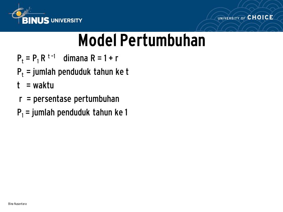 Model Pertumbuhan Pt = P1 R t –1 dimana R = 1 + r