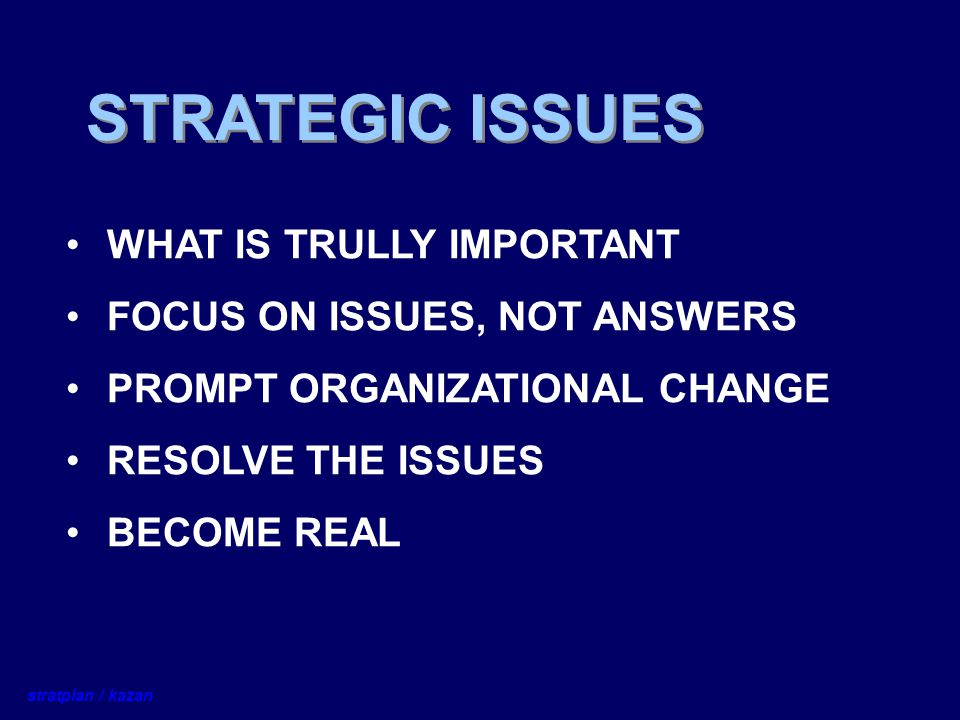 STRATEGIC ISSUES WHAT IS TRULLY IMPORTANT FOCUS ON ISSUES, NOT ANSWERS