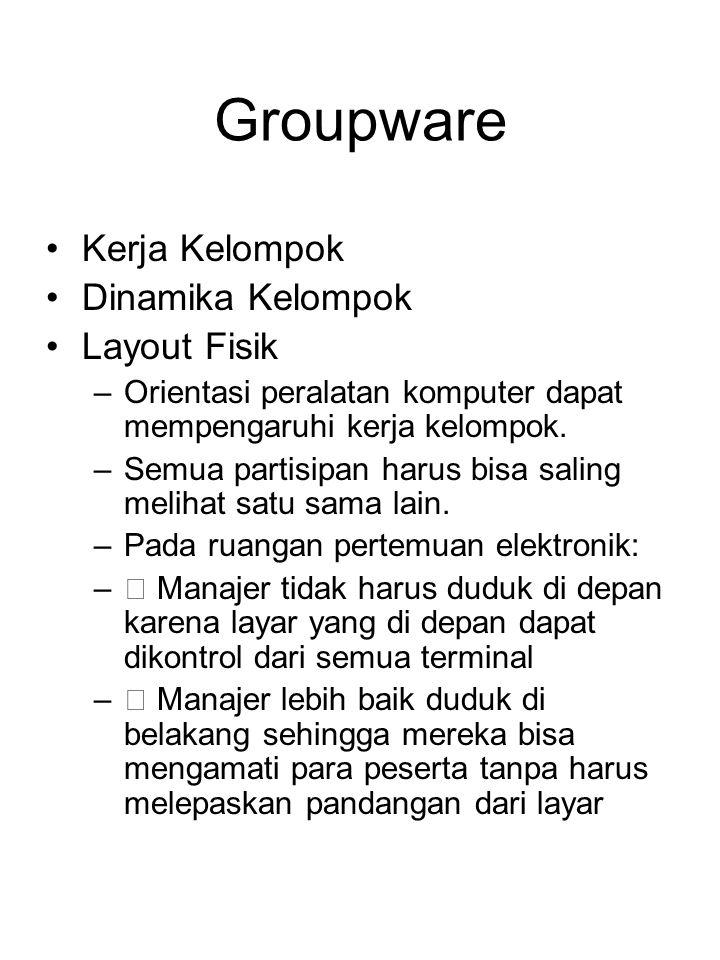 Groupware Kerja Kelompok Dinamika Kelompok Layout Fisik