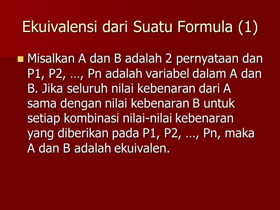 Ekuivalensi dari Suatu Formula (1)
