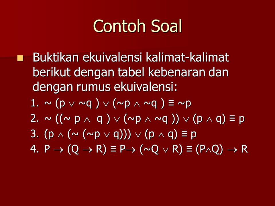 Contoh Soal Buktikan ekuivalensi kalimat-kalimat berikut dengan tabel kebenaran dan dengan rumus ekuivalensi:
