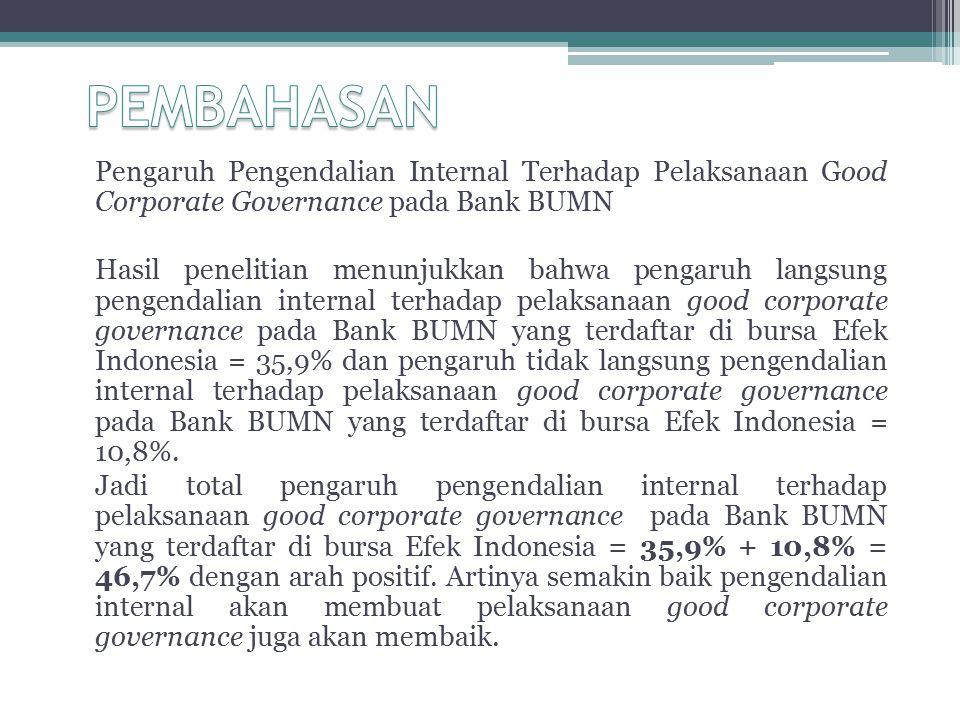 PEMBAHASAN Pengaruh Pengendalian Internal Terhadap Pelaksanaan Good Corporate Governance pada Bank BUMN.