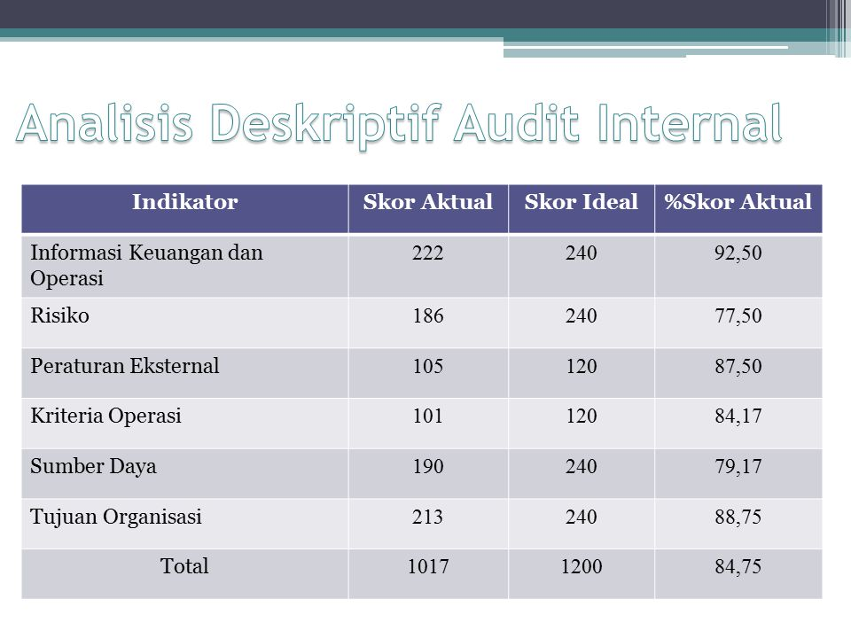 Analisis Deskriptif Audit Internal