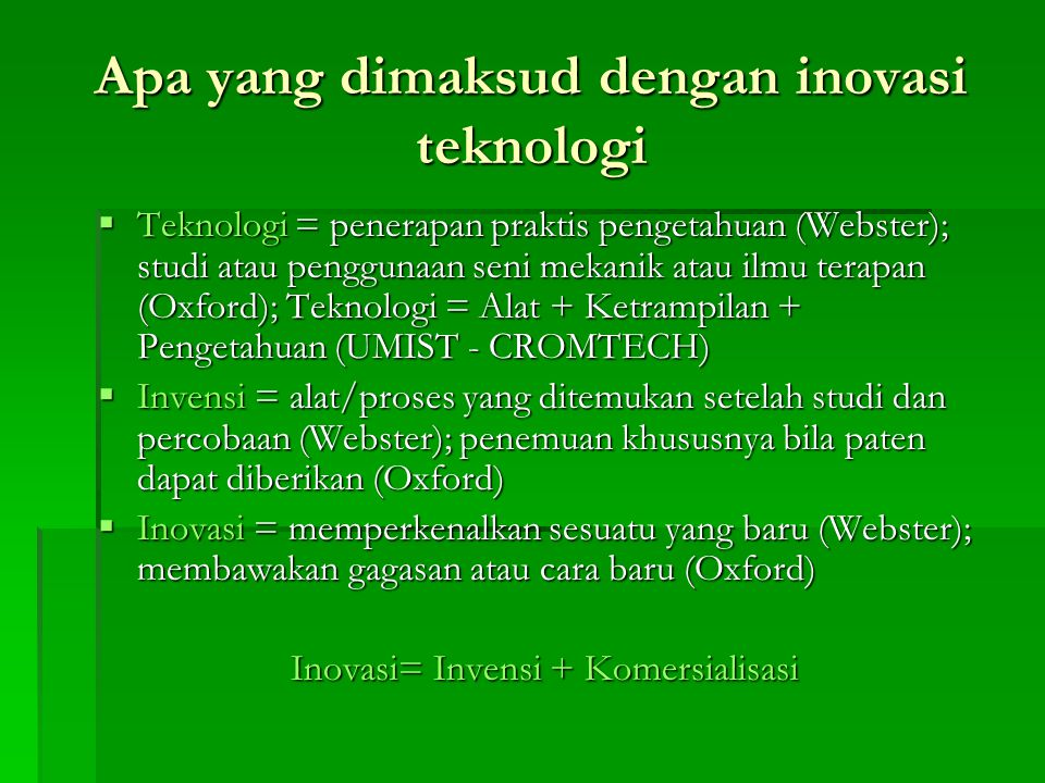 Apa yang dimaksud dengan inovasi teknologi