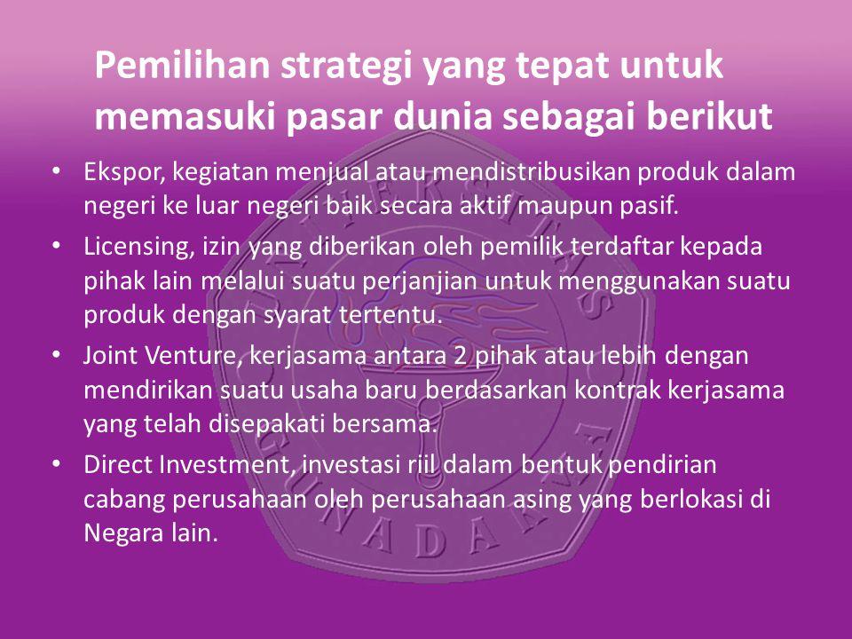 Pemilihan strategi yang tepat untuk memasuki pasar dunia sebagai berikut