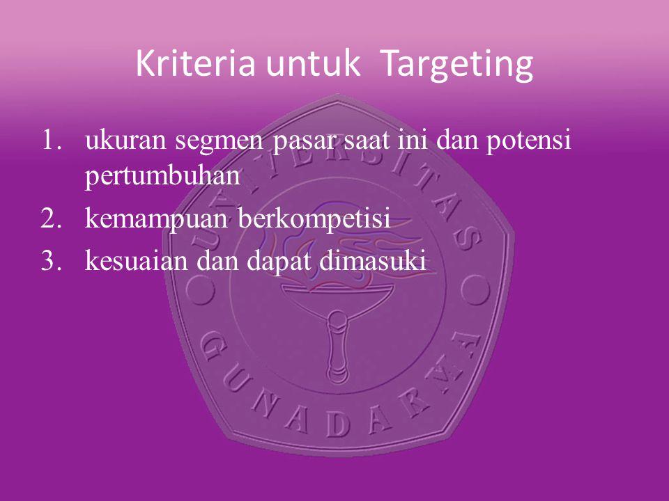 Kriteria untuk Targeting