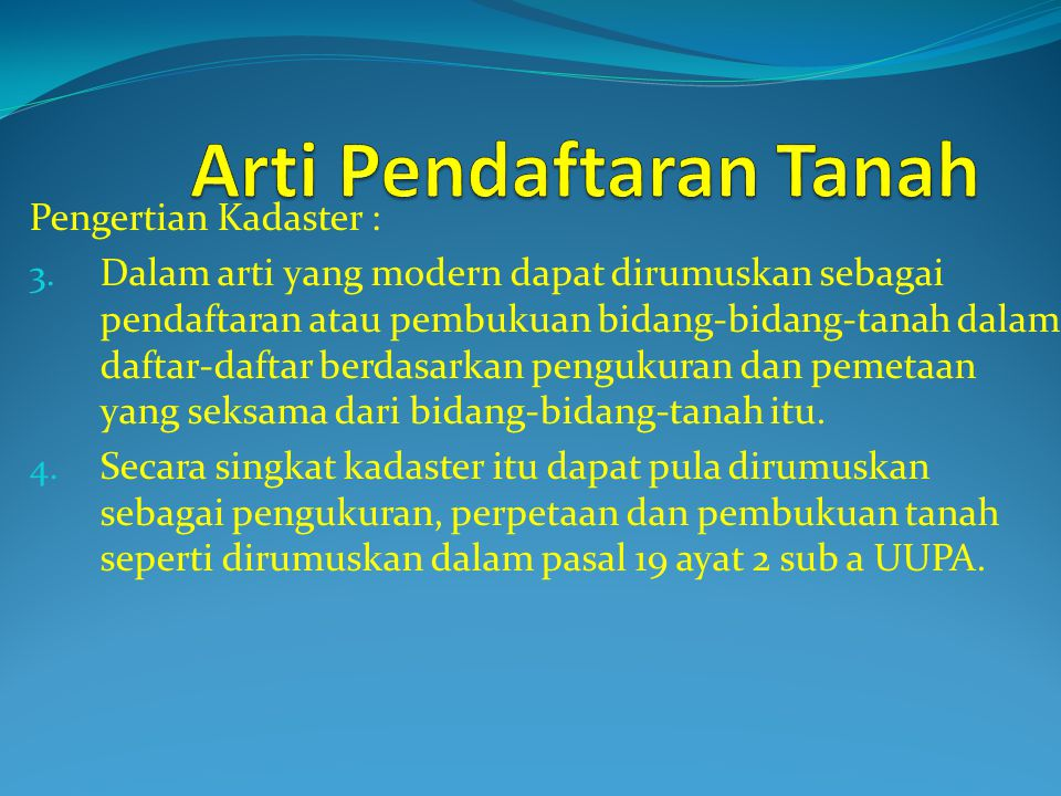 Arti Pendaftaran Tanah
