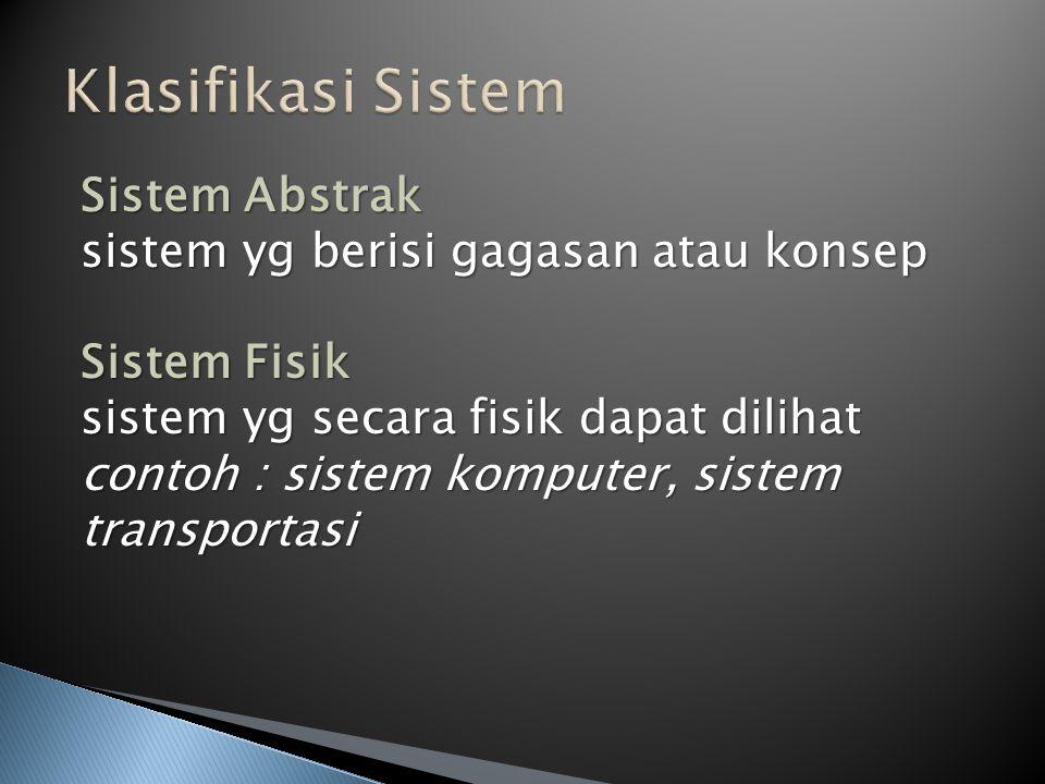 Klasifikasi Sistem Sistem Abstrak sistem yg berisi gagasan atau konsep