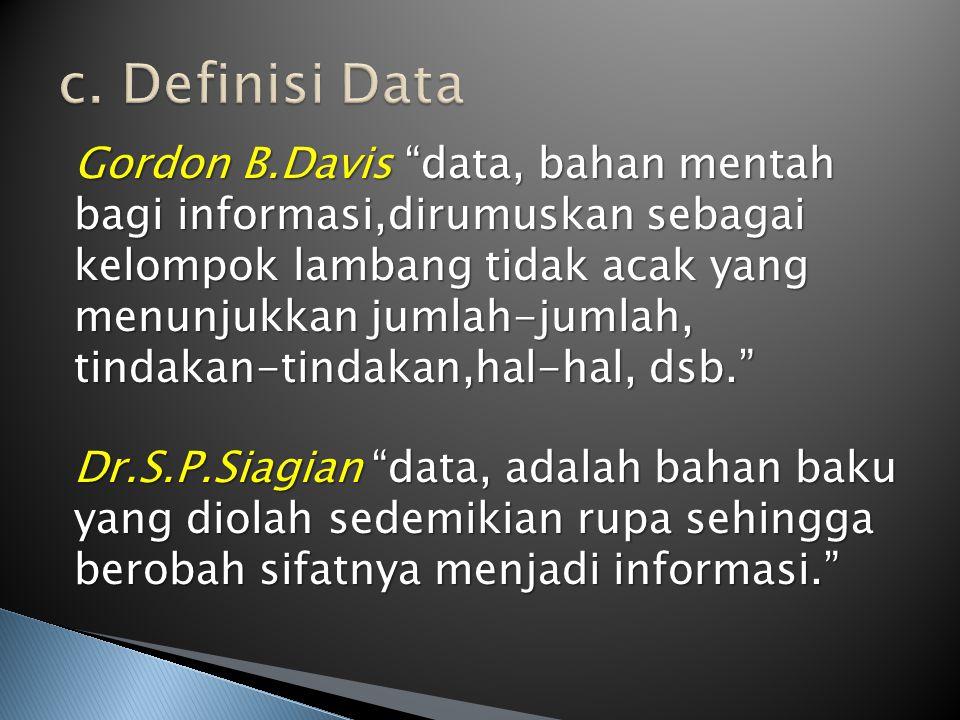 c. Definisi Data