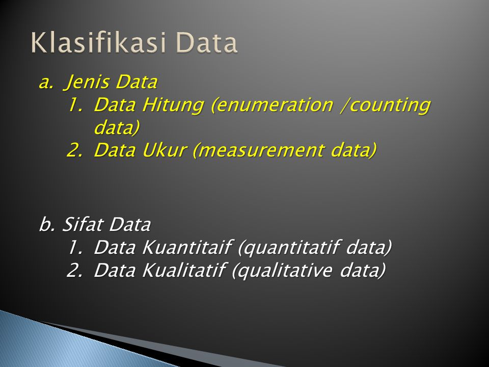 Klasifikasi Data Jenis Data Data Hitung (enumeration /counting data)