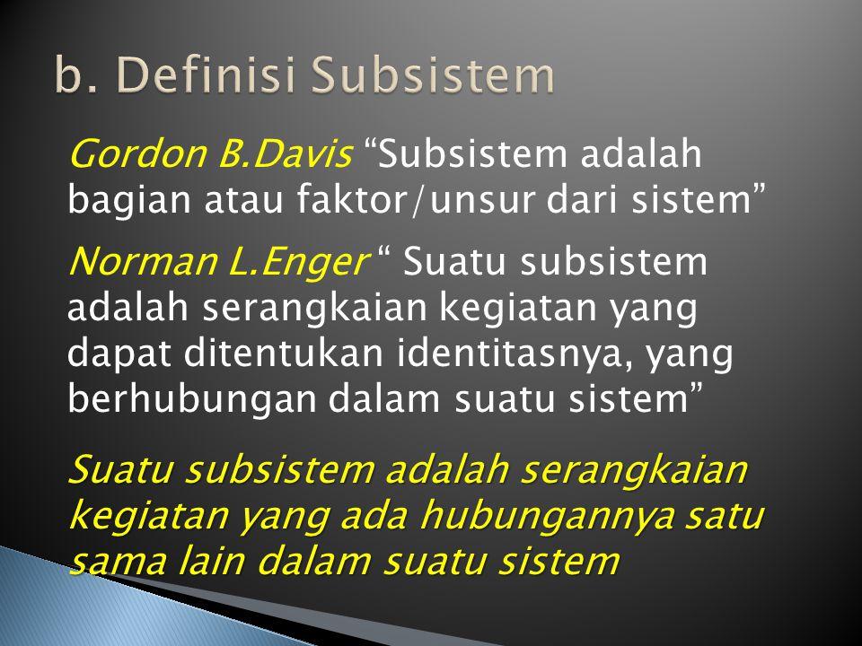 b. Definisi Subsistem Gordon B.Davis Subsistem adalah bagian atau faktor/unsur dari sistem